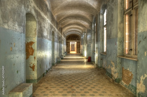 Photo Stands Old Hospital Beelitz Old corridor in the beelitz heilstätten