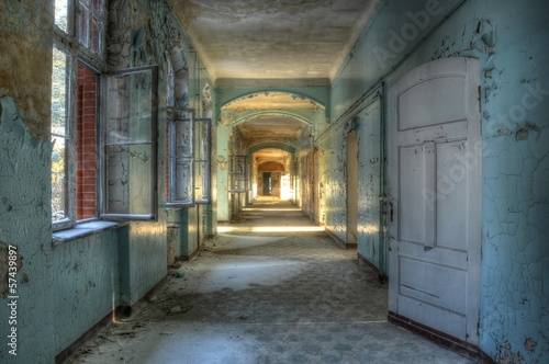 Photo Stands Old Hospital Beelitz Corridor in beelitz
