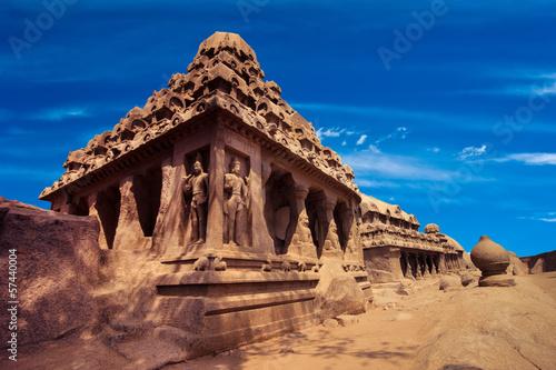 Fényképezés  Panch Rathas Monolithic Hindu Temple. India