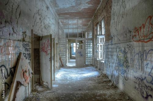Keuken foto achterwand Oud Ziekenhuis Beelitz Alter Korridor der Heilstätten in Beelitz