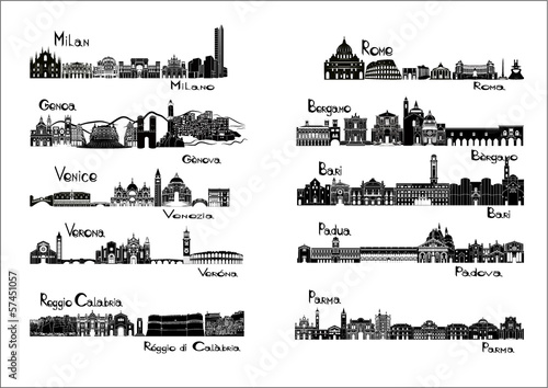 10 cities of Italy  - silhouette signts Poster