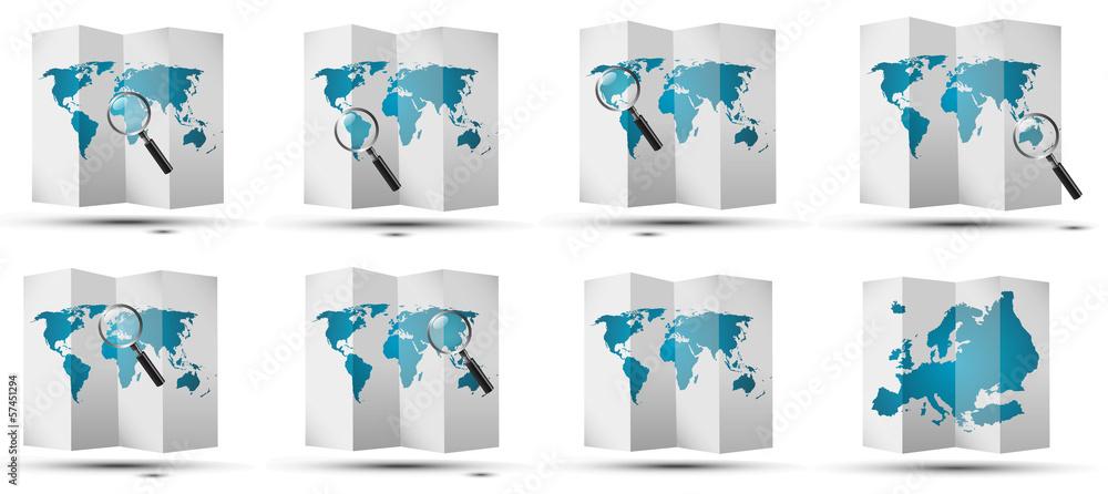 Fototapeta maps world glass