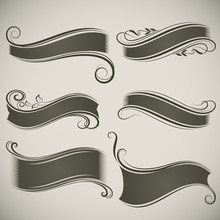 Abstract Vintage Banner Shapes Vector Template.