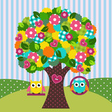 beautiful tree with owls on swings - vector illustration