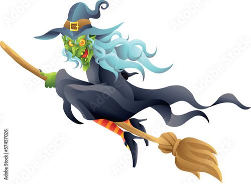 Poster de jardin Chambre bébé halloween witch on broom