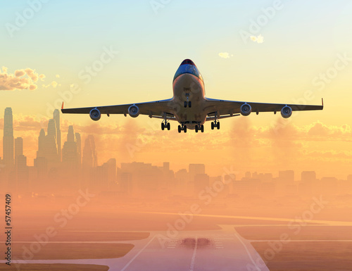 Tuinposter airplane taking off at sunrise