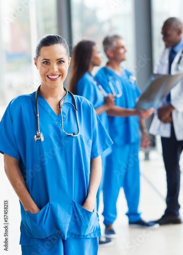 Carta da parati young medical worker in hospital