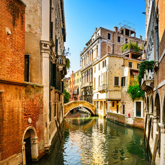 Obraz na Szkle Venice cityscape, buildings, water canal and bridge. Italy