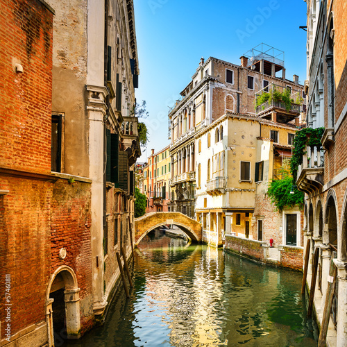 Tuinposter Venetie Venice cityscape, buildings, water canal and bridge. Italy