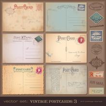 Set Of Nostalgic Postcards And Stamps