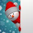 3d cute Christmas Snowman holding blank banner