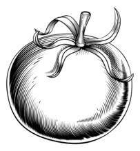 Vintage Retro Woodcut Tomato