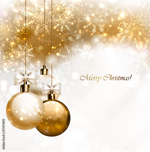 Christmas background with three Christmas baubles плакат