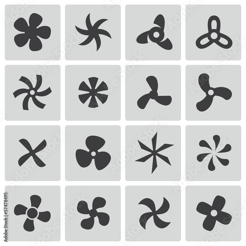 Valokuva  Vector black fans and propellers icons set