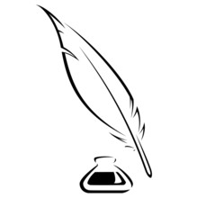 Quill And Ink Pot Black Vector...