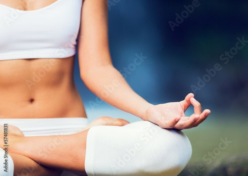Fotografie, Obraz  Beautiful Woman Practicing Yoga Outside In Nature