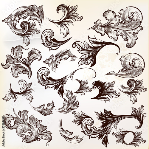 Valokuva  Collection of vector vintage decorative swirls for design