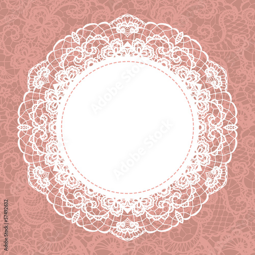 Fényképezés  Elegant doily on lace gentle background. Scrapbook element.