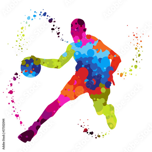 Photo  basket ball player with colored dots