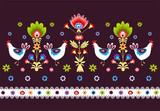 ludowy wzór  z ptakami na ciemnym tle - 57506451