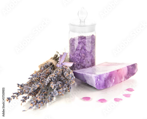 Photo  Hand made soap with lavender and sea salt isolated on white