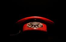 Red Retro Telephone,on Dark Background
