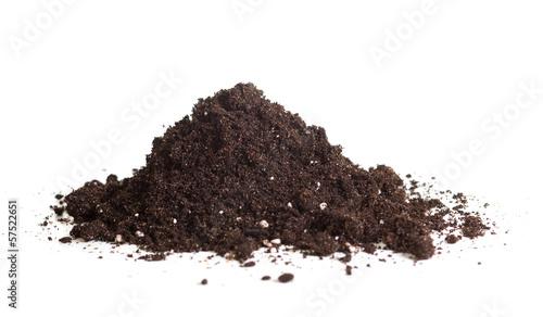 Fényképezés  handful of soil isolated on white