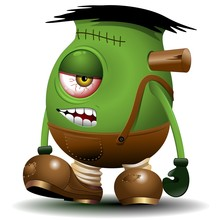 One Eyed Frankenstein Monster Cartoon-Vector