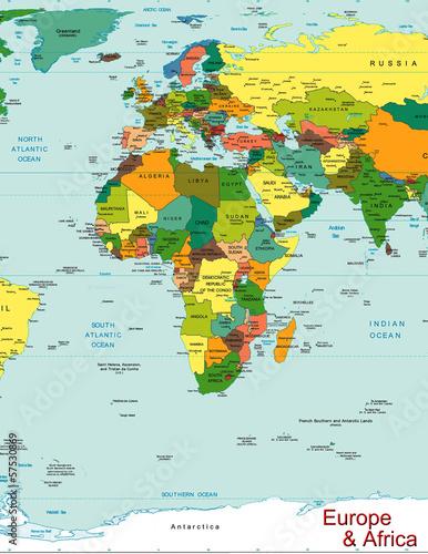 Europe Africa world map continent country – kaufen Sie diese ...