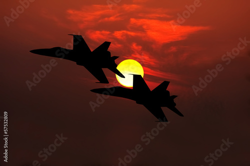 obraz dibond myśliwce sylwetka