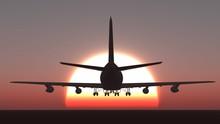 Plane Take Off Sunset