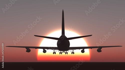 Fotografia  Plane take off sunset