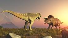 Triceratops And Tyrannosaurus Rex Dinosaurs Jurassic
