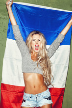 Woman With French Flag