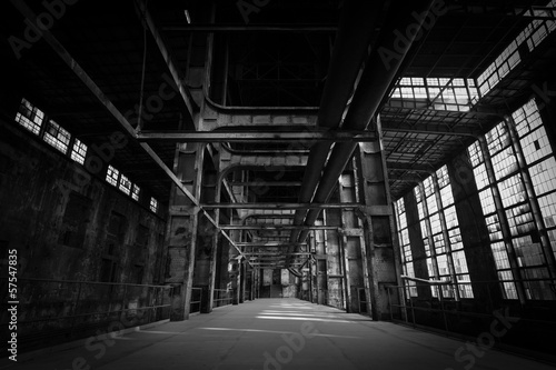 Aluminium Prints Industrial building abandoned industrial interior