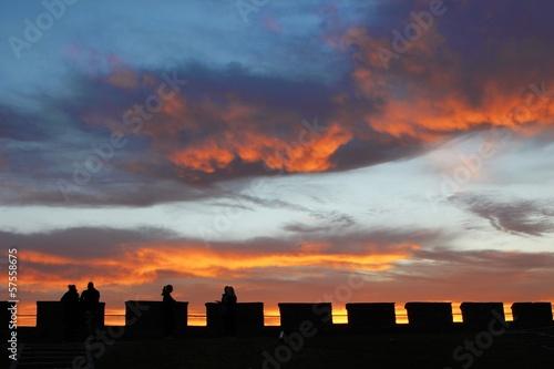 Sonnenuntergang über der Festung Akershus in Oslo Poster
