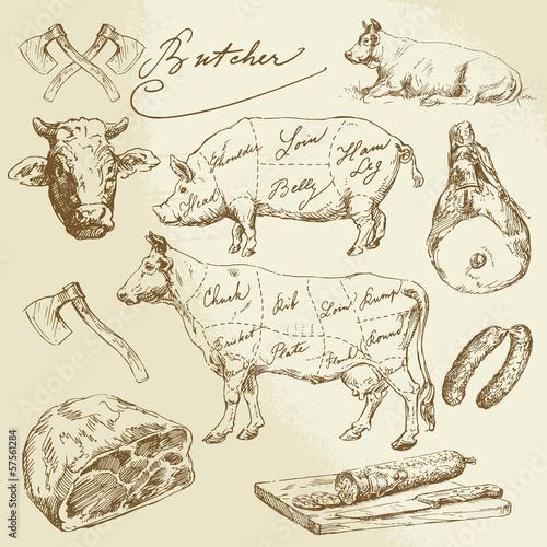 Obrazy do kuchni   kawalki-miesa-wieprzowego-i-wolowego-kolekcja-odreczna
