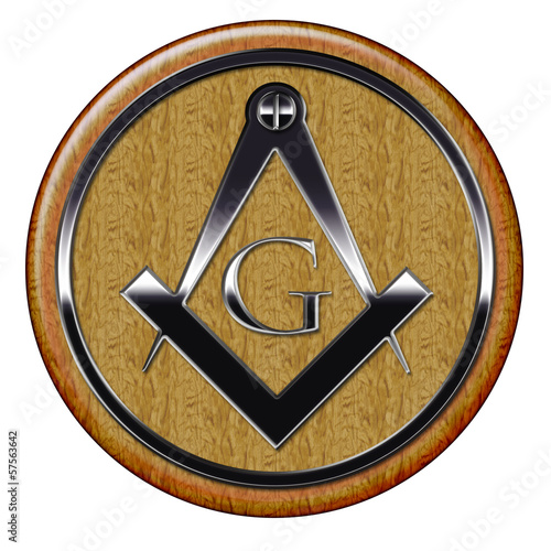Fényképezés  Freemason metallic symbol on wooden plaque