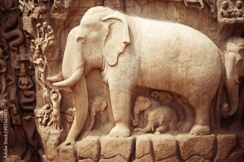 Valokuva  Stone bas relief fragment with elephant. India