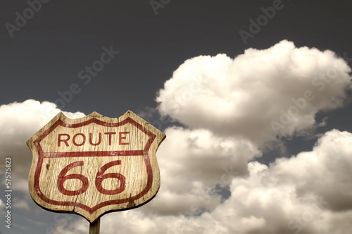 Deurstickers Route 66 Iconic Route 66 sign