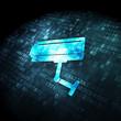 Privacy concept: Cctv Camera on digital background