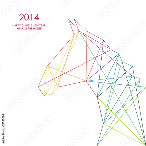 Poster Geometrische dieren Chinese new year of the Horse triangle lines illustration.