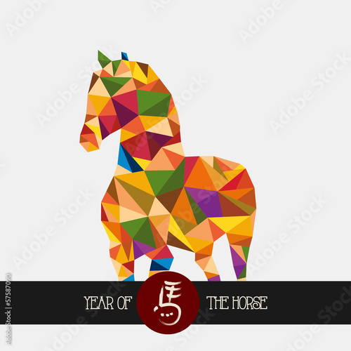 Poster Geometrische dieren Chinese new year of the Horse colorful triangle shape file.