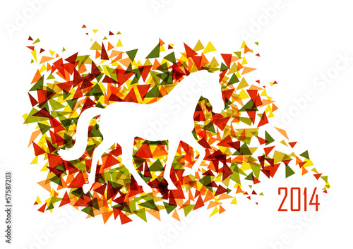 Poster Geometrische dieren Chinese new year of the Horse shape triangle EPS10 file.