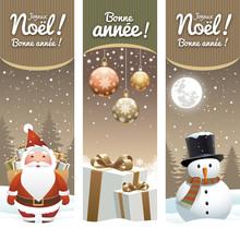 Carte De Vœux, Père Noël, Cadeaux, Bonhomme De Neige