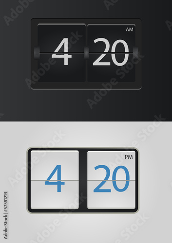 analog flip clock vector numbers are easy to replace - Buy this