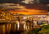 Sunrise over the river Arno and Ponte Vecchio, Florence, Italy