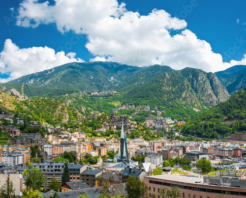 Andorra la Vella under puffy clouds, Andorra Wallpaper Mural