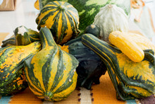 Ornamental Gourds On The Kitchen Table