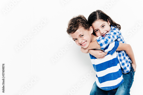 Stampa su Tela Beautiful pair of brothers. Boy and girl